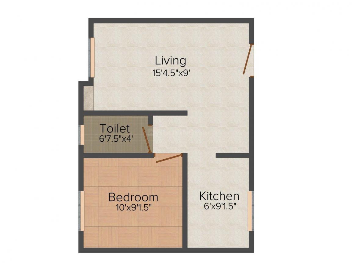 Chelliah Chandar CC Arunachalam Floor Plan: 1 BHK Unit with Built up area of 482 sq.ft 1