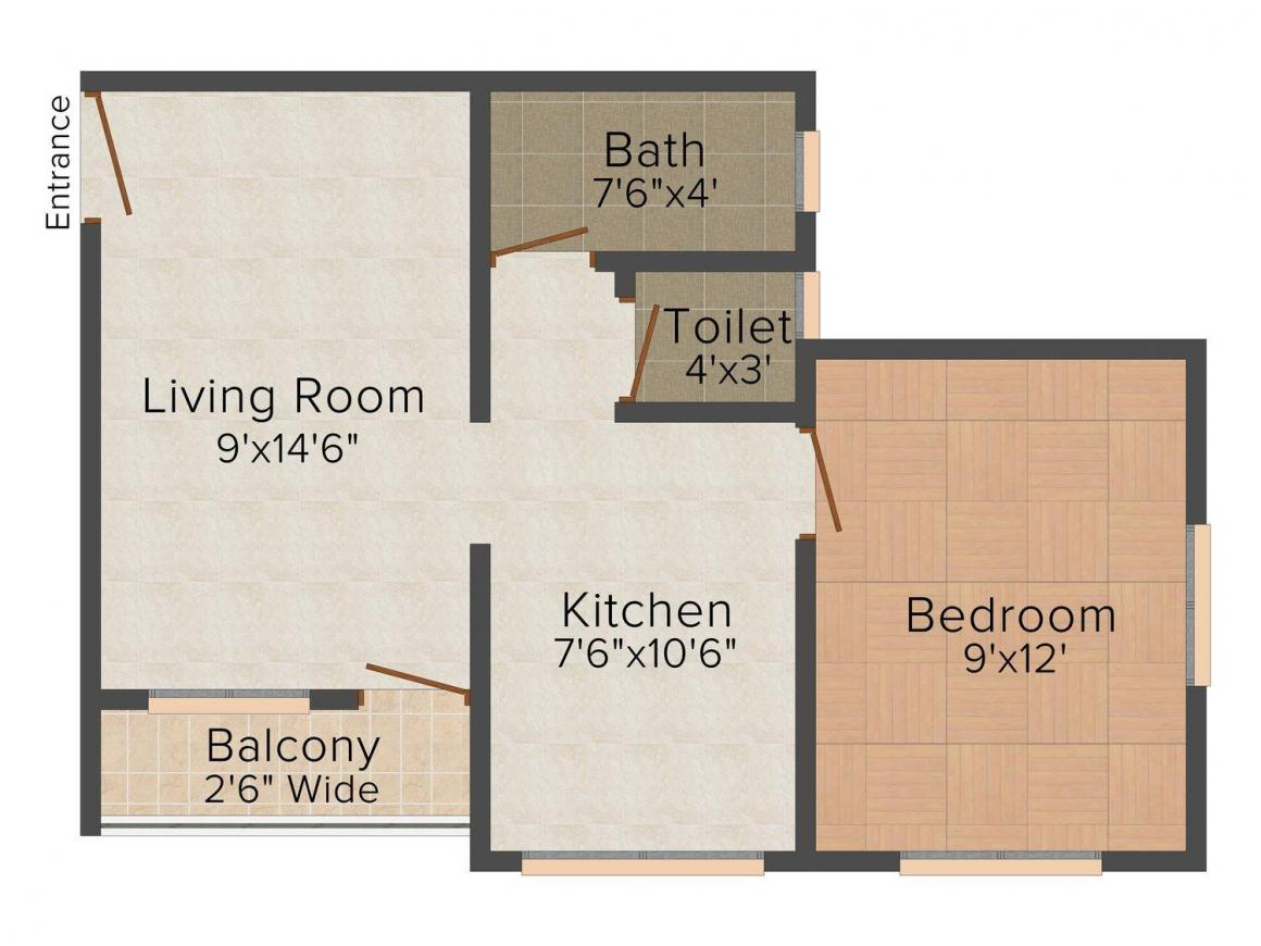 Floor Plan Image of 535.0 - 860.0 Sq.ft 1 BHK Apartment for buy in Shravanthi Bapu Residency
