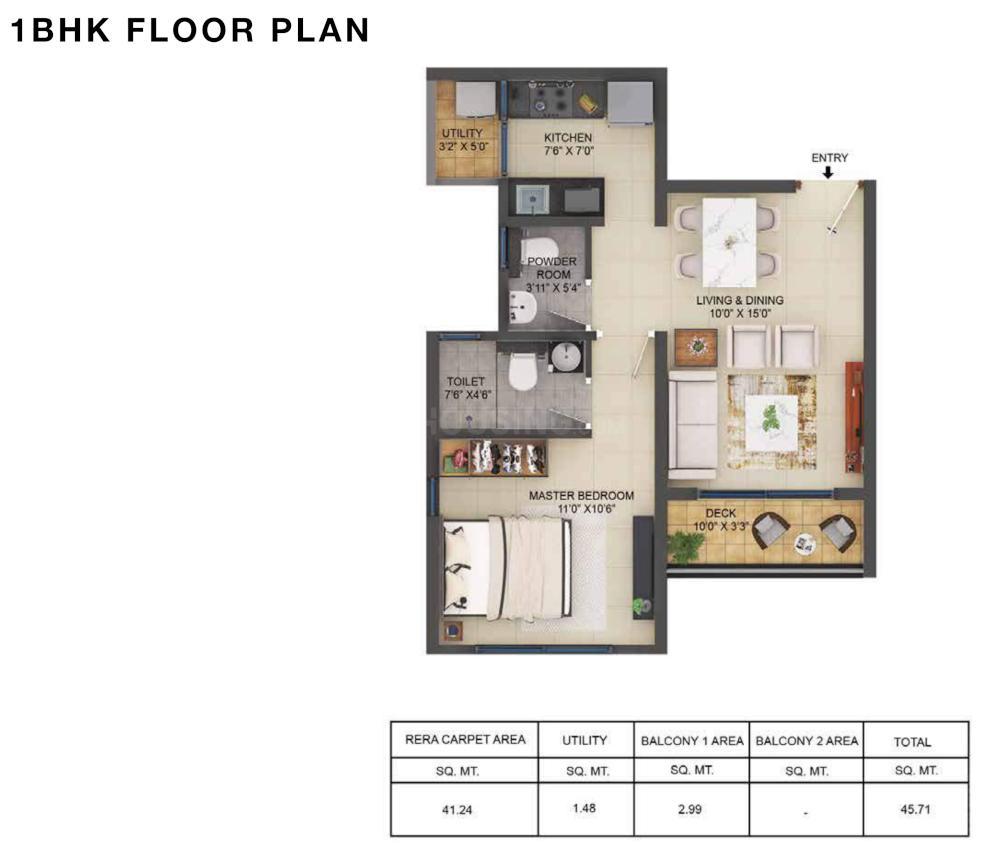 Shapoorji Pallonji Bavdhan Floor Plan: 1 BHK Unit with Built up area of 492 sq.ft 1