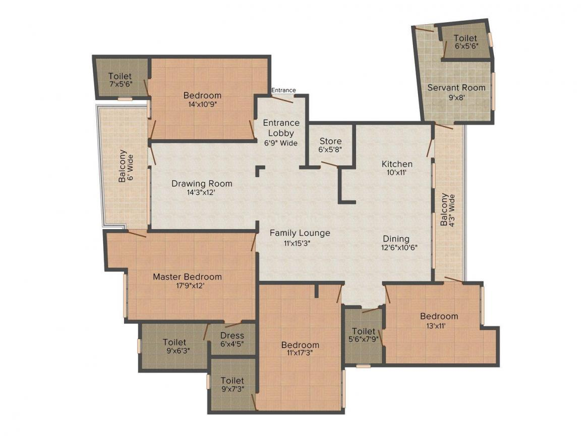 Sehgal K 3 39 DLF Phase 2 Floor Plan: 4 BHK Unit with Built up area of 2700 sq.ft 1