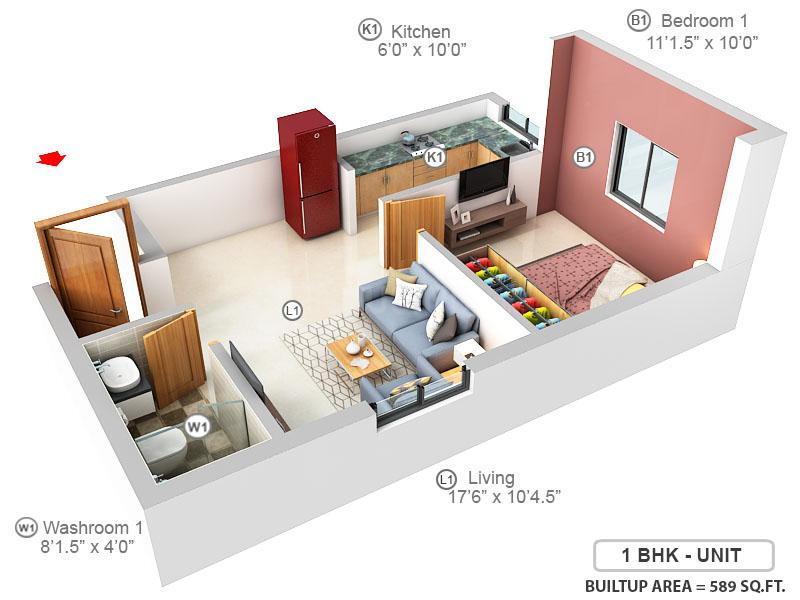 Durvara Floor Plan: 1 BHK Unit with Built up area of 589 sq.ft 1