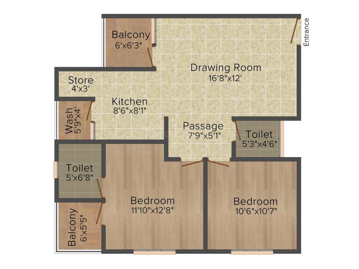 Floor Plan Image of 0 - 1359 Sq.ft 2 BHK Apartment for buy in Aastha Maruti Paradise
