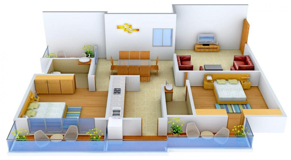 Floor Plan Image of 1340 - 2333 Sq.ft 2 BHK Apartment for buy in Harshil Royal
