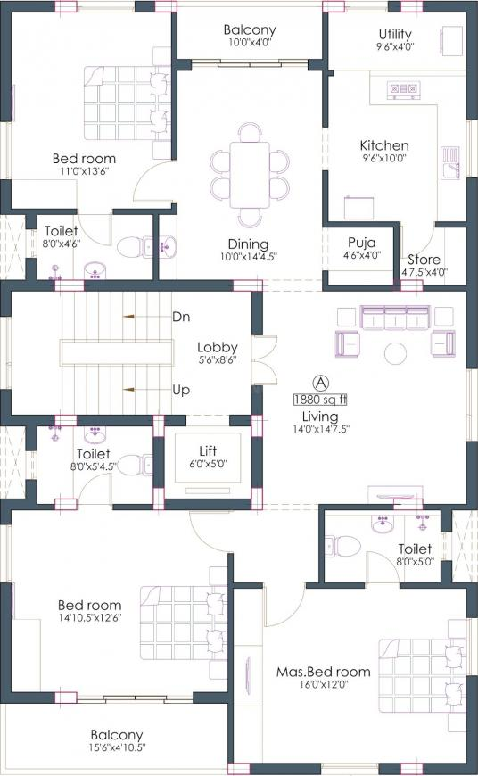 Pushkar Providence Floor Plan: 3 BHK Unit with Built up area of 1880 sq.ft 1