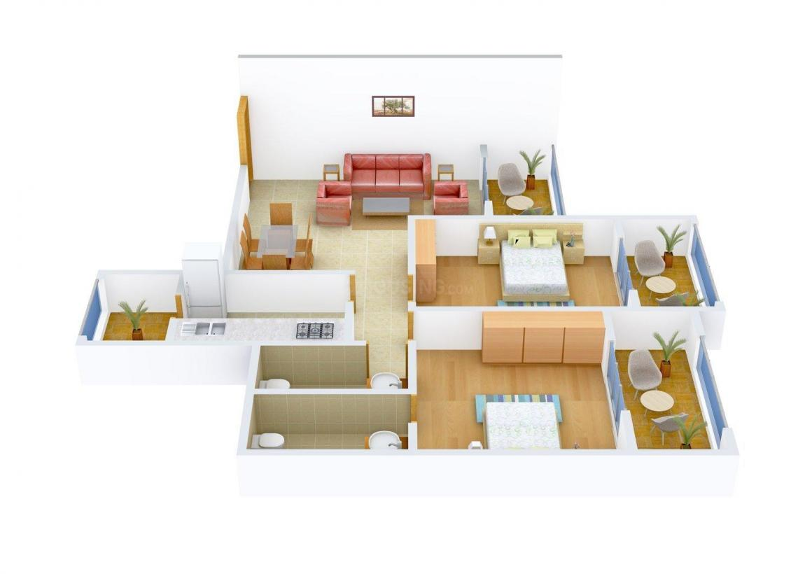 Floor Plan Image of 1097.0 - 1181.0 Sq.ft 2 BHK Apartment for buy in Vision Solitaire