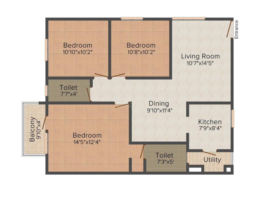 Vivek Floors 2 Floor Plan: 3 BHK Unit with Built up area of 1190 sq.ft 1