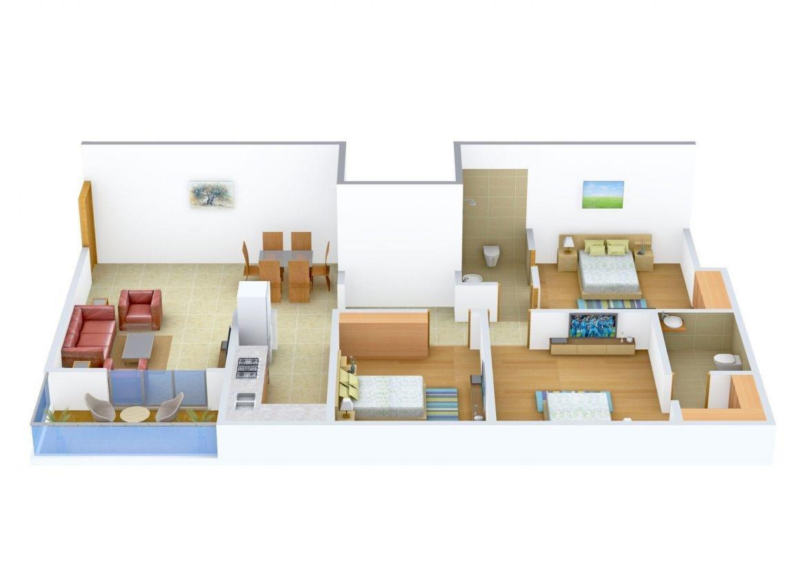 Floor Plan Image of 0 - 1420 Sq.ft 3 BHK Apartment for buy in Ashiana Rishi