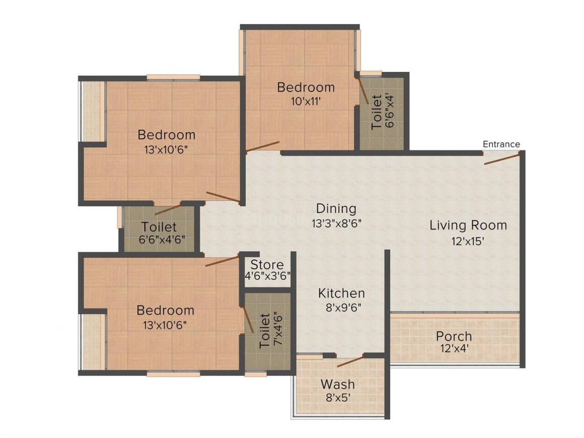 Floor Plan Image of 0 - 985.0 Sq.ft 3 BHK Apartment for buy in Shiplan Onyx Tower II