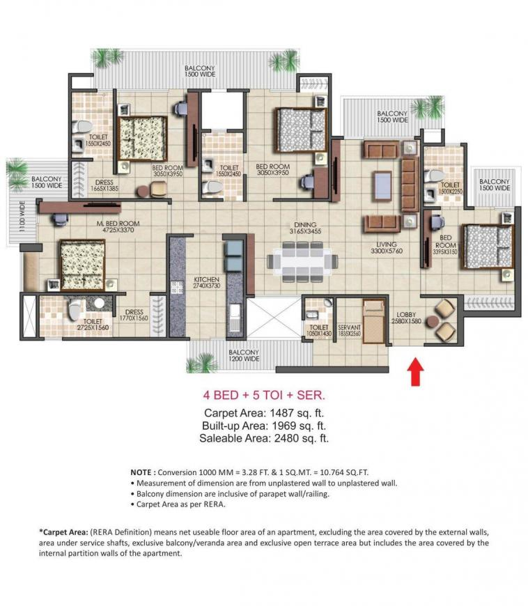 Nirala Aspire Floor Plan: 4 BHK Unit with Built up area of 2480 sq.ft 1