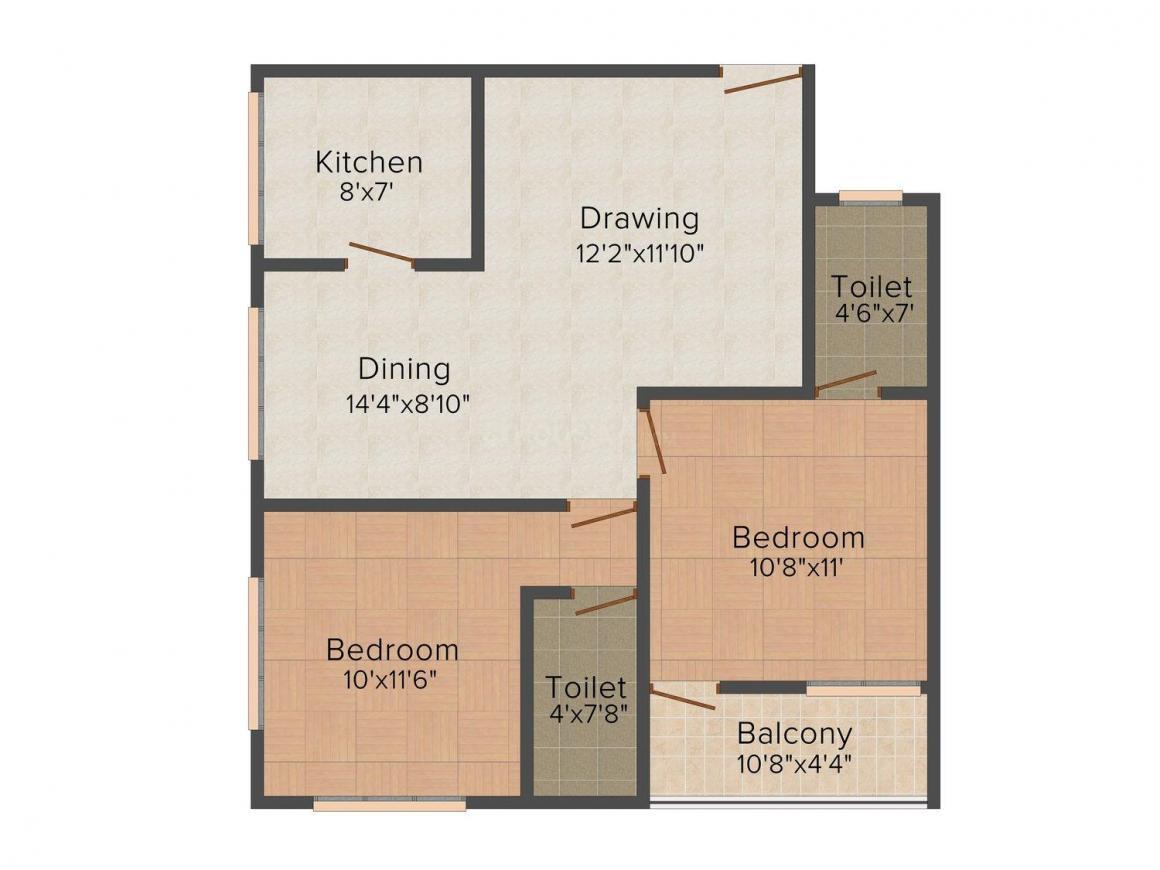 Floor Plan Image of 694.0 - 1194.0 Sq.ft 2 BHK Apartment for buy in Vastu Silicon City
