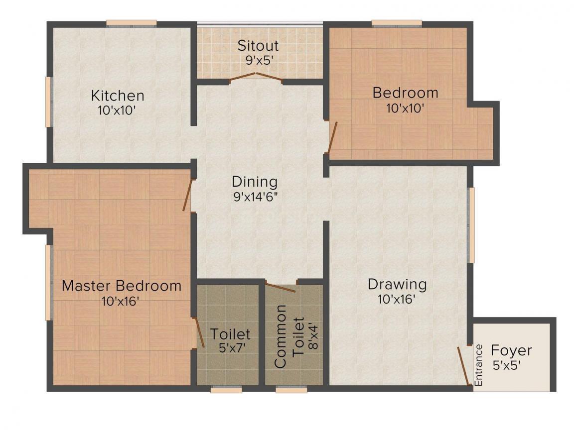 Floor Plan Image of 1025.0 - 1575.0 Sq.ft 2 BHK Apartment for buy in Abhinitha Vikas Venkatesam