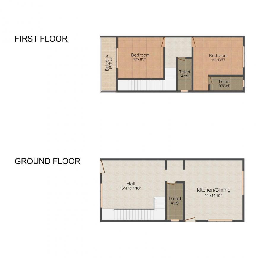 Dreamz Elegant Floor Plan: 2 BHK Unit with Built up area of 1165 sq.ft 1
