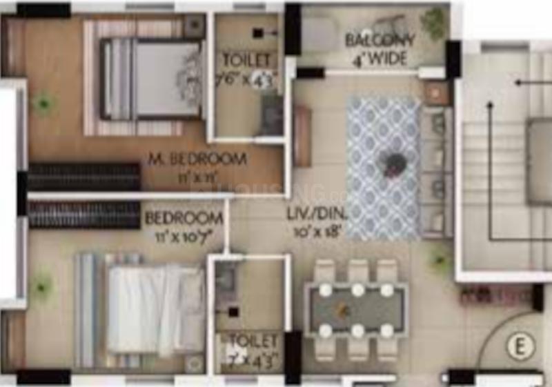 Primarc Allure Floor Plan: 2 BHK Unit with Built up area of 623 sq.ft 2