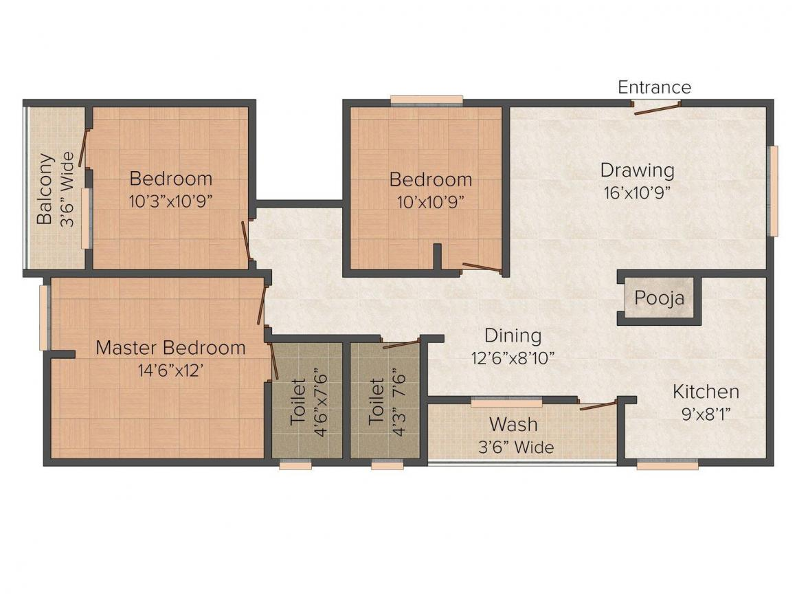 Floor Plan Image of 1440.0 - 1558.0 Sq.ft 3 BHK Apartment for buy in RK Constructions