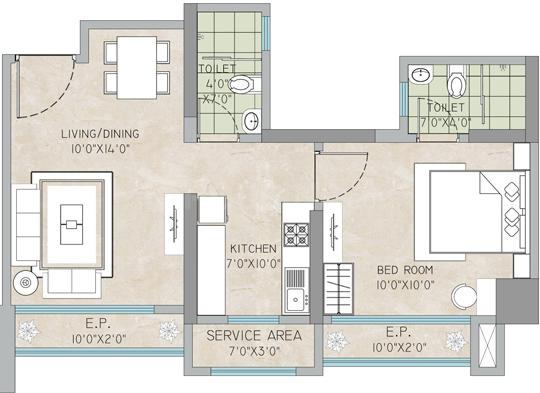 Bharat Ecovistas Phase II Floor Plan: 1 BHK Unit with Built up area of 370 sq.ft 2