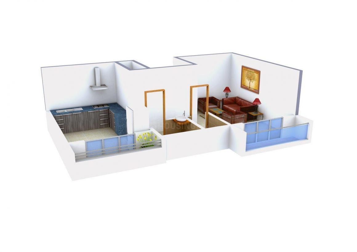 Redundant Virar Rajlaxmi Apartment Floor Plan: 1 BHK Unit with Built up area of 343 sq.ft 2