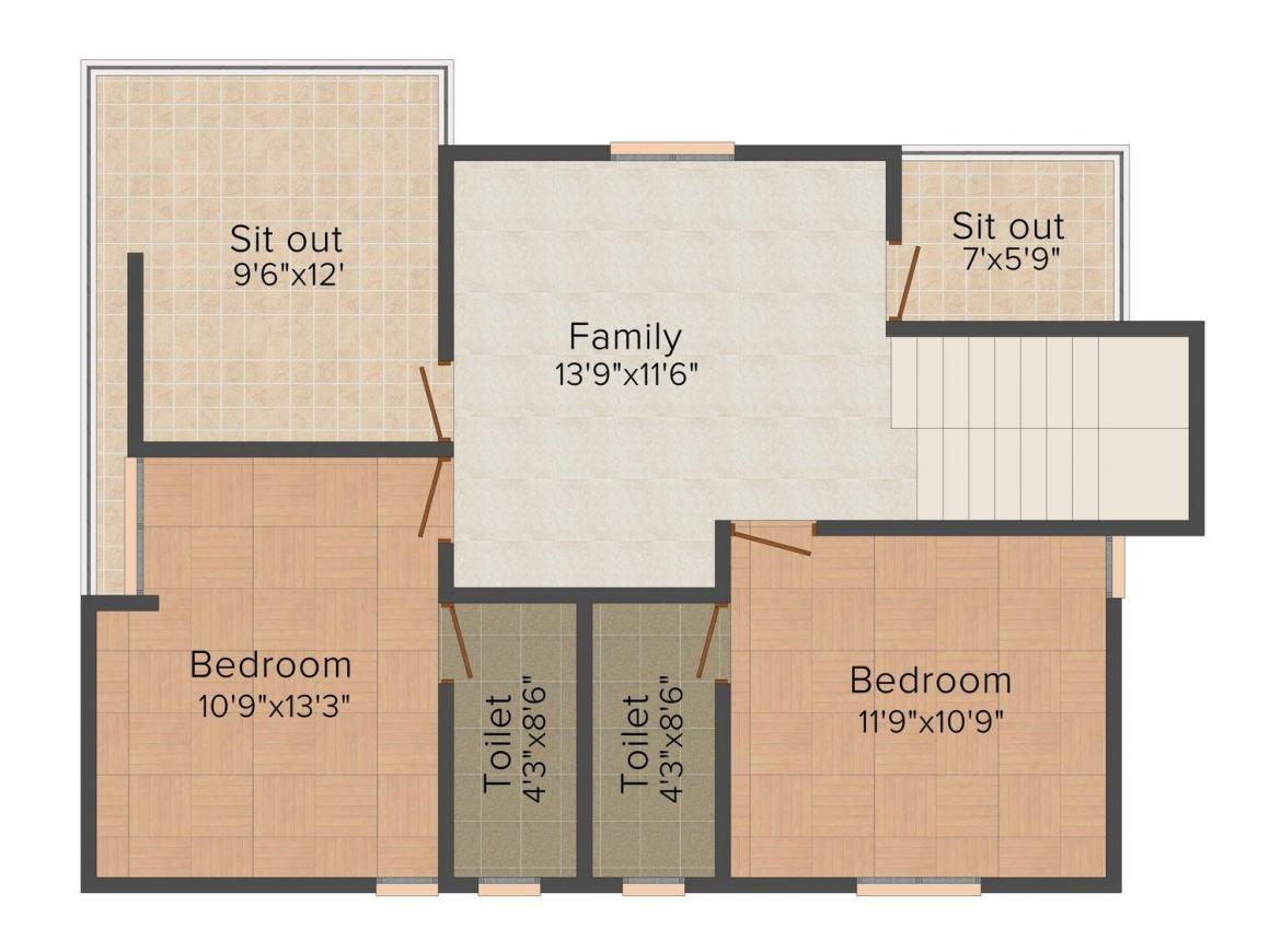 Floor Plan Image of 1700.0 - 2100.0 Sq.ft 3 BHK Row House for buy in G9 Rathna