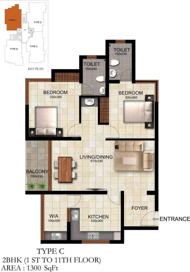 Floor Plan Image of 1300 - 1615 Sq.ft 2 BHK Apartment for buy in Silver Winter Leaf
