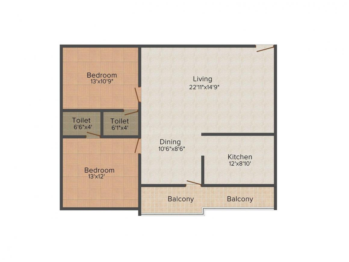SLB Krishna Residency Floor Plan: 2 BHK Unit with Built up area of 1250 sq.ft 1
