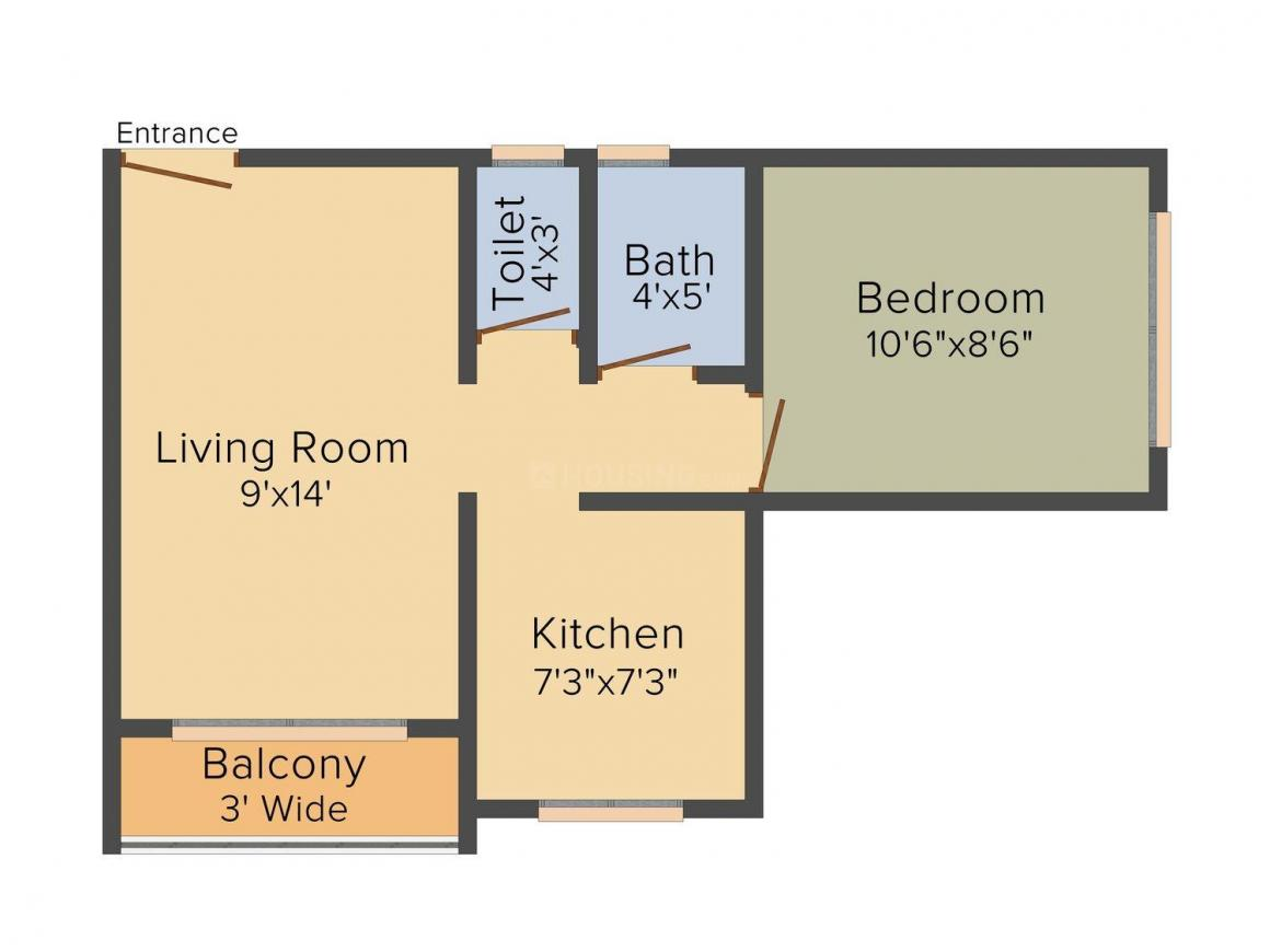 Floor Plan Image of 365 - 650 Sq.ft 1 RK Apartment for buy in Shanti Paradise