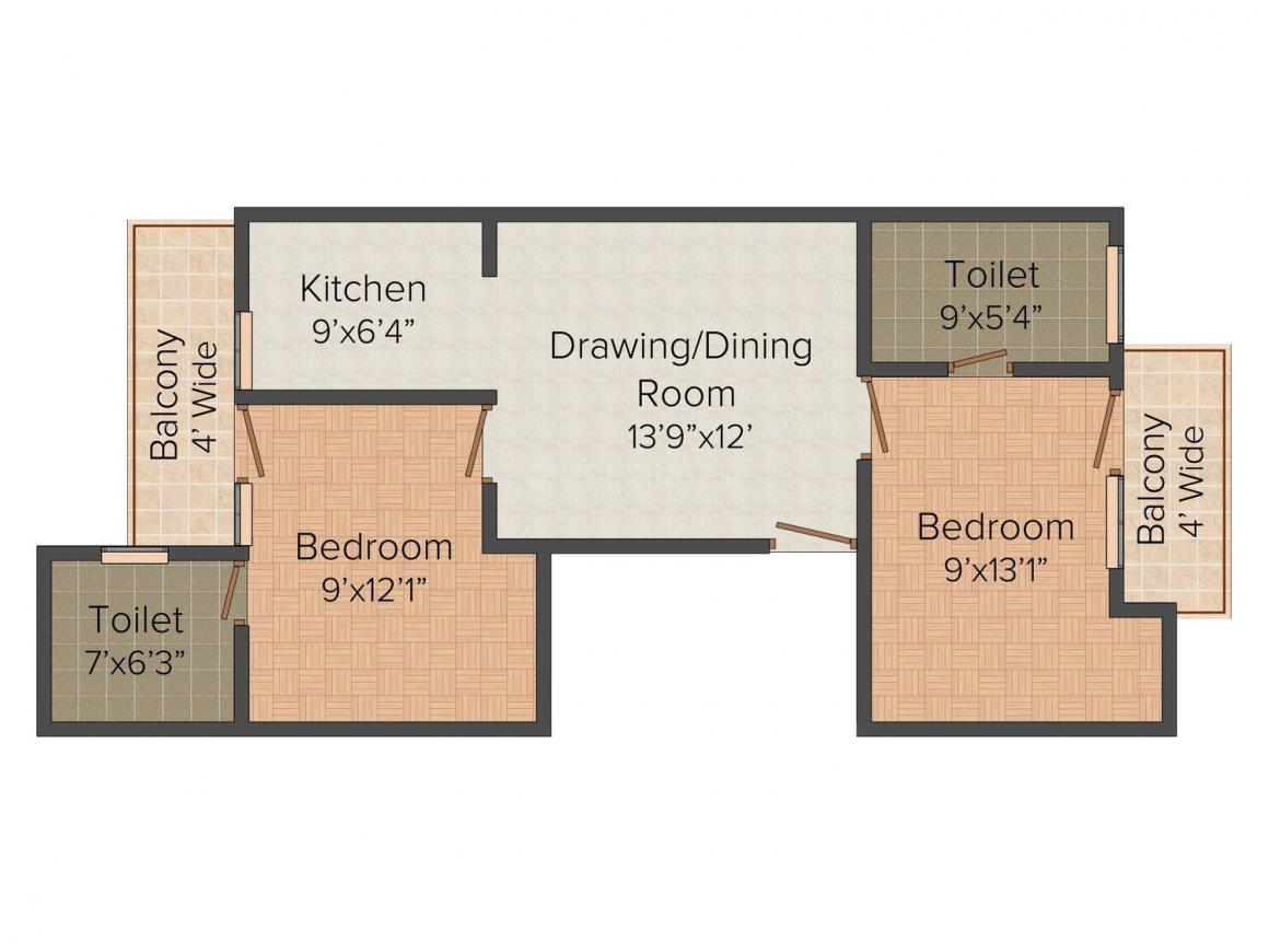 Amit Plot No - 1562 Floor Plan: 2 BHK Unit with Built up area of 800 sq.ft 1