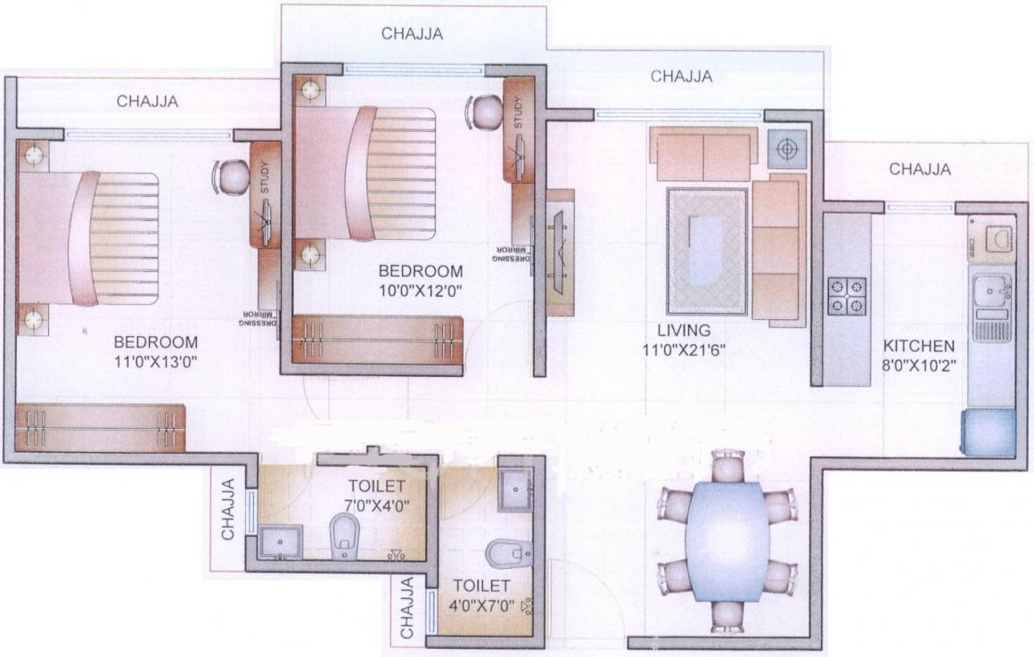 Shreepati Rise Estate LLP Floor Plan: 2 BHK Unit with Built up area of 676 sq.ft 1
