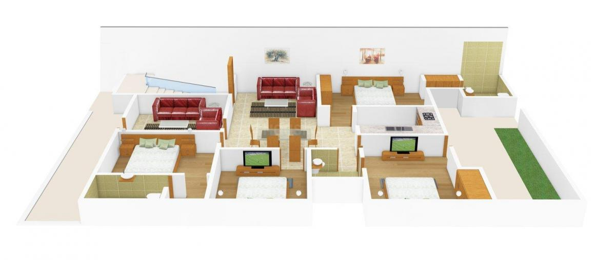 Anant Floors 1 Floor Plan: 4 BHK Unit with Built up area of 2745 sq.ft 1