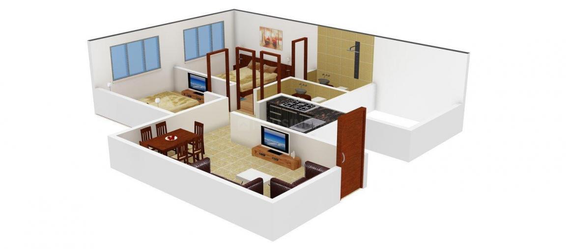Floor Plan Image of 501.17 - 728.39 Sq.ft 2 BHK Apartment for buy in Crown Satyam CHS Ltd