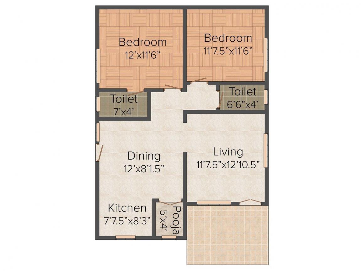 Floor Plan Image of 0 - 1032 Sq.ft 2 BHK Villa for buy in Royal Dreamz Prahas County