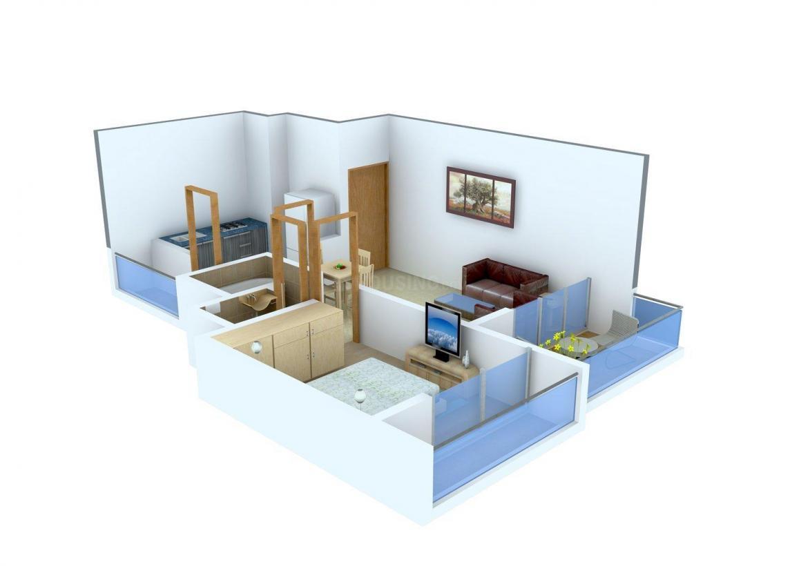Platinum Om Sai Arcade Floor Plan: 1 BHK Unit with Built up area of 470 sq.ft 1