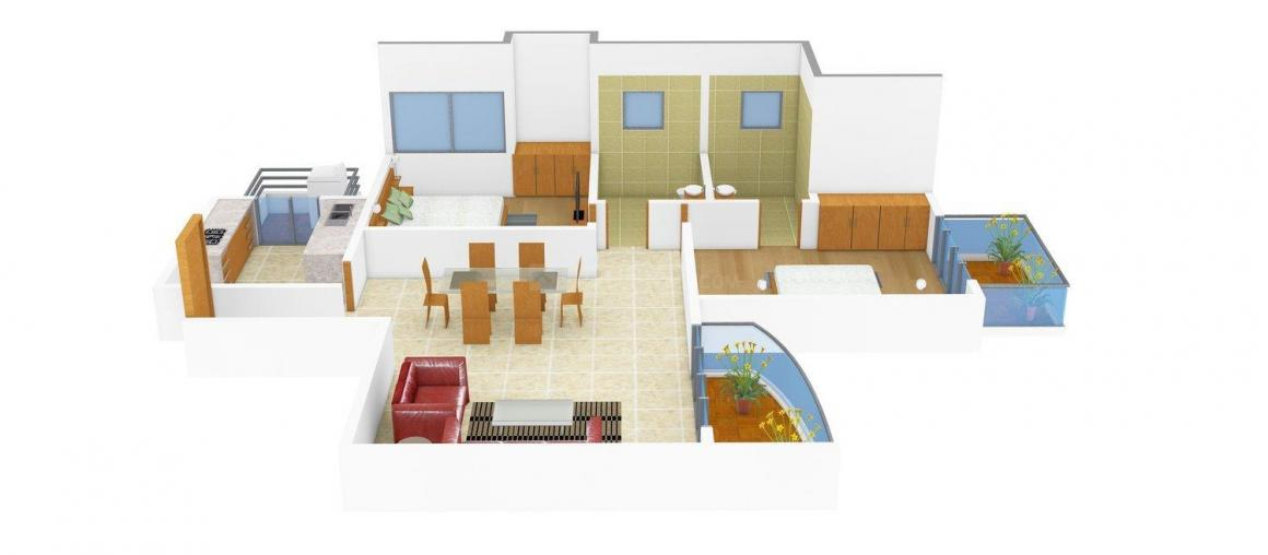 Ansal API Sunshine County Floor Plan: 2 BHK Unit with Built up area of 1141 sq.ft 1