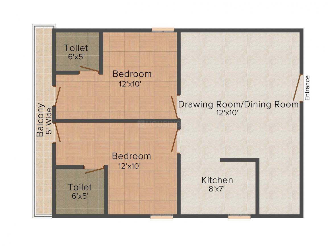 Star Apartment  Floor Plan: 2 BHK Unit with Built up area of 450 sq.ft 1